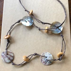 """Abalone Shell/wooden bead 28"""" Necklace"""